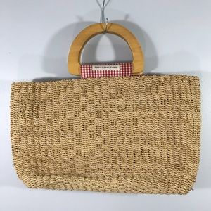✨3/20 TOMMY HILFIGER WOVEN TOTE W WOODEN HANDLES